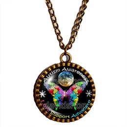 Wholesale Space Glasses - Wholesale Autism Awareness Puzzle Piece Moon Pendant necklace Space Art glass Fashion Jewelry Chain gift vintage Lot 2016