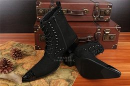 Wholesale Tall Male Boots - New autumn and winter in Europe and America Tall male hairdresser toe high-heeled boots rivet head skull increased Casual Boots