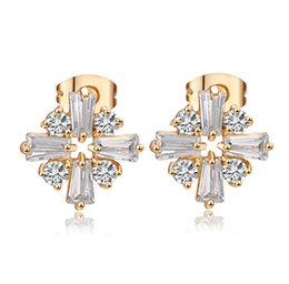 Wholesale Office Earrings - 2016 Most fashion desing white crystal gold plated Square Flower Clip hoop Earrings jewelry for girls for weding for party for office