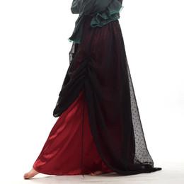 2019 органза костюм Панк Леди черный органза Красный рябить юбка готический Викторианский стимпанк старинные косплей костюм высокого качества дешево органза костюм