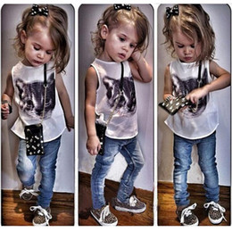 Wholesale Denim Suits Girls - Hot Sale New 2pcs Cute Baby Girl Clothes suit outfits Sweet Cool Kid Girl Cute Cat Print Sleeveless Vest Top+ jean denim pant