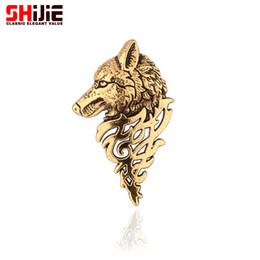 модная бижутерия оптом Скидка Wholesale- vintage gold silver Brooches for women men lapel pin wolf collar broches jewelry fashion Brooch pins Bijoux broche cristal