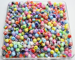"Wholesale Striped Chunky Resin Beads Bracelet - Fashion Jewelry Beads Wholesale 500PCs Mixed Striped Round Resin Spacer Beads chunky necklace and bracelet 6mm(1 4"")(W02753)"