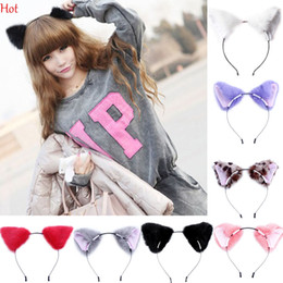 Wholesale Sexy Cartoon Girls - Sexy Fashion Girl Cute Cat Fox Ear Long Fur Hair Headband Anime Cosplay Party Costume Cartoon Headband Orecchiette Free shipping LP000891