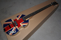 Wholesale Deluxe Bass - McCartney Hofner H500 1-CT Contemporary Violin Deluxe Bass England Flag Electric Guitar Flame Maple Top & Back 2 511B Staple Pickups