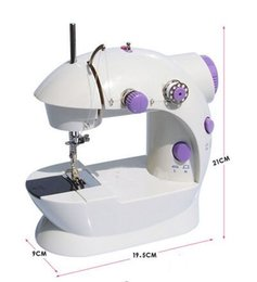 Wholesale Mini Handheld Sewing Machine - Europe Handheld Sewing Machines Dual Speed Double Thread Multifunction Electric Mini Automatic Tread Rewind Sewing Machine with Power Lights