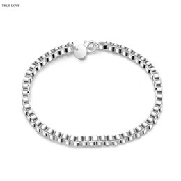 Wholesale Low Priced Hot Plates - Global Hot 925 sterling silver plated 4MM box chain bracelet fashion jewelry wholesale Christmas gifts low price Top Quality Free Shipping