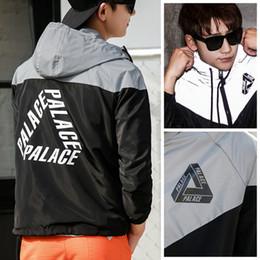 Wholesale Reflective Raincoats - Palace Jacket Men 3M Reflective Jacket Outdoor Raincoat Outerwear Palace Skateboards Windbreaker Jackets Coats Palace Jacket