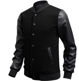 Wholesale wool coat leather sleeves men - Veste Homme 2018 Autumn Slim Fit Casual Sports Baseball Jackets PU Leather Sleeve Jacket Men Bomber Jackets and Coats