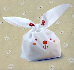 Wholesale Plastic Snack Bag - 50pcs lot cute rabbit ear cookie bags Self-adhesive Plastic Bags for Biscuits Snack Baking Package food bag