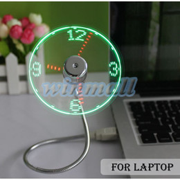 Wholesale Usb Desk - 2016 Adjustable Flexible Office Desk Gadget USB Mini Flexible Time LED Clock Fan with LED Light