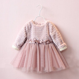 Wholesale Kids Fur Coats For Wholesale - Hug Me Baby Girls Lace Tutu 2016 New Autumn Winter Fur Coat Dresses Childrens Long Sleeve for Kids Clothing Party Dress AA-703