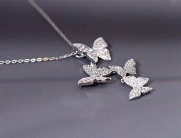 Wholesale Wholsale Sterling Silver Necklaces - wholsale 925 sterling silver long zircon butterfly necklaces pendant fashion sterling-silver-jewelry statement necklace for Women