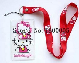 Wholesale Mobile Phone Key Chain - New 20pcs Hello Kitty ID Badge Holder, kawaii Squishy Logo Neck Lanyards Key Chain Phone Strap Chocolates Cartoon Mobile Charms