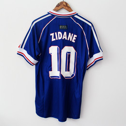 Wholesale Vintage Football Shirt - 1998 FRANCE RETRO VINTAGE ZIDANE HENRY MAILLOT DE FOOT Thailand Quality soccer jerseys uniforms Football Jerseys shirt