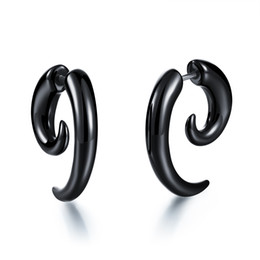 Wholesale Claw Studs - Comfortable Light Weight PVC Spiral Earrings Horn Claw Shaped Studs Cheater Fake Ear Plugs Black