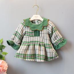 Wholesale Kid Girl Woolen Dresses - INS styles new Girl kids winter long sleeve ruffles collar plaid design dress winter warm woolen dress girl thick elegant dress