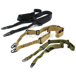 Wholesale gun belt strap - New Adjustable Heavy Nylon Duty Gun Belt Strap Tactical two Points Sling Outdoor Airsoft Mount Bungee Rifle Sling #4173