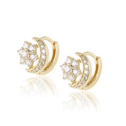 Wholesale Bling Earrings Hoops - Xuping Luxury Accessories Moon And Star Huggie Bling Zirconia 14K Gold Plated Women Earhoop Copper Jewelry Earrings for Gift DH-15-14K0002