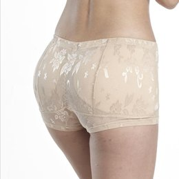 Wholesale Shaping Panties - Wholesale-Women's False Butt Pads Panties Lace Low Waisted Briefs Body shaping padded Fake Ass Knickers Plump Hip Buttock Breathable