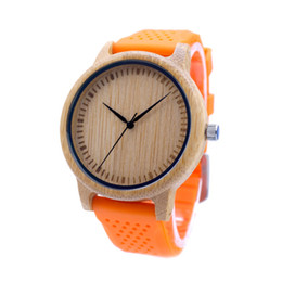 Wholesale Choice Silicone Watch - Casual Bamboo Wooden Watch Wood Dial Soft Silicone Band 3 Colors for Choice Quartz Watches for Men Women as Gift