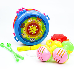 Wholesale Instruments For Children Bells - Set Package Musical Instruments Baby Rattles Shake Bell Ring Children Early Learning Toys Hand Beat Drums Toys for toddlers