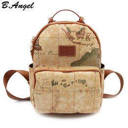 Wholesale Map Print Bags - High quality world map backpack women backpack leather backpack printing backpack travel bag HC-Z-6650