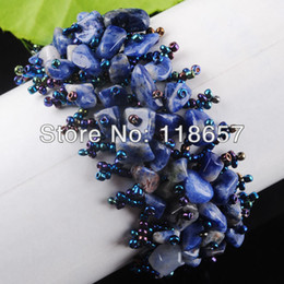 Wholesale Stone Bead Chips Bracelets - Wholesale- Free shipping Jewelry NEW Fashion Blue-veins stone Beads Chip Weave Adjustable Bracelet Gem 4~8MM IK1637