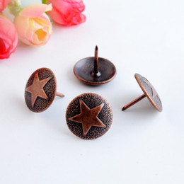 Wholesale Nails Fastener - Wholesale- Free shipping 20Pcs Copper tone drum nail doornail Archaize decorative nail thumbtack hardware fastener 19x21mm J3112