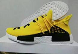 meias originais Desconto Raça humana Amarelo 2016 Originais Mens Pharrell Williams X Sapatos de corrida Runner City Meia Sapatilhas Sapatilhas Botas de Tamanho 36-44