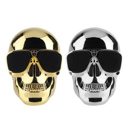 Wholesale plastic skulls - Wholesale- Plastic Metallic Skull Shape Wireless Bluetooth Speaker Sunglass NFC Skull Speaker Mobile Subwoofer Multipurpose miniSpeaker Cool