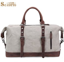 Wholesale Carrying Handle For Bags - 2016 new arrival high quality canva and crazy horse leather for handle men duffel bags fashion design travel bag carry on luggage