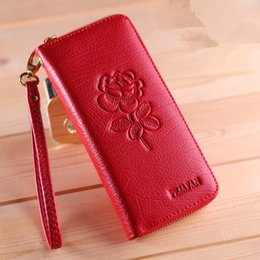 Wholesale Cell Phone Wallets For Women - Lady 100% Genuine Leather Fresh Long Wallets For Women Brand Fashion Floral Embossing Zipper Multifunctional Organizer Wallets England Style