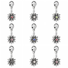 Wholesale Wholesale Snowflake Spacer Beads - 5mm Wholesale Mixed Colors Rhinestone Crystal Tibetan Silver Snowflake European Big Hole Spacer Charms Pendant For Bracelet