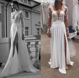 Wholesale Images Long Summer Dresses - Real Image 2016 Wedding Dresses Berta Bridal Summer Beach Lace Long Sleeves Bridal Gowns With Sexy Illusion V Neck Leg Splits U Backless