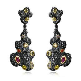 Wholesale Black Diamond Drop Earrings - Myself Jewellery Black Gold Plated AAA+ Cubic Zircon Diamond Drop Line Long Earrings For Women