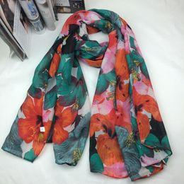 Wholesale Cheap Plaid Scarves - 2016 Wholesale hot selling european stylish floral printing women polyester autumn scarf 10pc lot 5colors cheap size 90x180cm