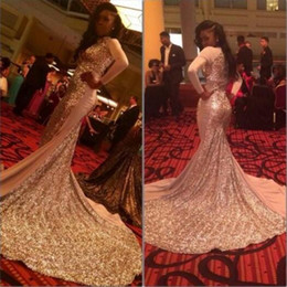 Wholesale Evening Party Dressess - Gold Sequins Prom Dresses Mermaid Style Long Sleeve High Keyhole Neck Saudi Arabic Party Gowns Modest Special Occasion Dressess Evening Wear