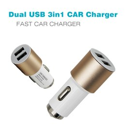 Wholesale Car Charger 3in1 - Dual USB 3in1 CAR Charger For samsung iphone portable 2 fast Quick Adapter android Power bank Mini max Magnetic 12-24V smartphones Freeshipp