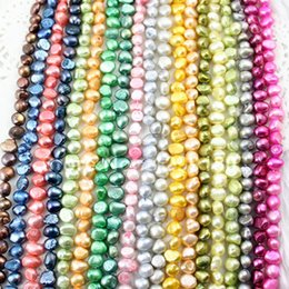 Wholesale 15inch Necklace - 15inch lot Natural Cultured Multicolor Nugget Freshwater Pearl Beads Stands AAGrade 7-8mm for Necklace DIY Jewelry Making K01883