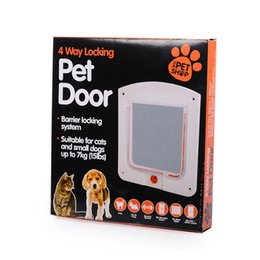 Wholesale Pet Doors For Cats - pet gate with flap door for small dogs cats 4 way locking with Tunnel Upto 33mm Thick cat dog door