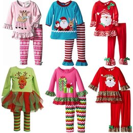 Wholesale Boys 4t Dress Pants - Chirstmas Pajamas 2016 Boys Girls Sets Deer snowman Butterfly Long Sleeve Dress Tops+Stripe Pants Xmas Children Outfits Kids Clothing