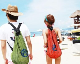 Wholesale Mesh Bags For Women - Nylon Beach Mesh Backpack Bags Double Mesh For Men and Women Lovers bag Red or Green Color Large capacity A045