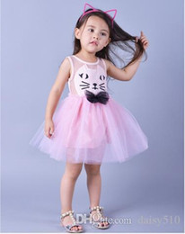 Wholesale Kitty Costume 4t - Girls Soft Cotton Cute Kitty Cat Lace Dress Children Kids Princess Party Performance Costume Fancy Dancing Yoga Dress Casual School Clothes