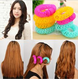 Wholesale New Hair Curlers - 8 pcs bag New Hair Styling Roller Hairdress Magic Bendy Curler Spiral Curls DIY Tool magic leverag hair curlers