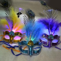 Wholesale Led Feather Masks - Women Girls Party Fancy Ball Light Up LED Fiber Feather Mask Butterfly Masquerade Fancy Costume Party Decorations Hallowmas Props Mask