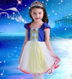 Wholesale Snow White Flower Girl Dress - Children Halloween Snow White Skirt Girl Yarn Skirt Flower Girl Dress The party presides over the costume