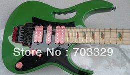 Wholesale Guitar Frets - RARE 24 Frets 7 Green Electric Guitar Pyramid Fretboard Inlay,Floyd Rose Tremolo bridge, Black Hardware, Pink Pickups