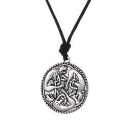 Wholesale Irish Necklaces - Myshape Wiccan Pendant Necklace KNOTTED CATS Irish Pendant Necklace Book of Kells cat jewelry Adjustable Jewelry Fast Shipping
