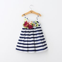 Wholesale Maxi Dresses For Kids - Baby Girls Lace Tutu 2016 New Summer Dresses Childrens Sleeveless for Kids Clothing Party Flower Floral Vest Dress Stripe Maxi Dress Beach